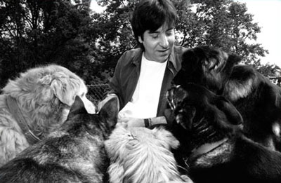Professor Francione with five of his seven rescued pound puppies